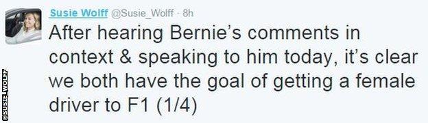Susie Wolff tweet