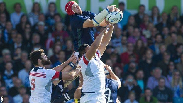 Grant Gilchrist playing for Scotland against USA