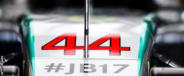Lewis Hamilton's displays a tribute to Jules Bianchi on his car bonnet