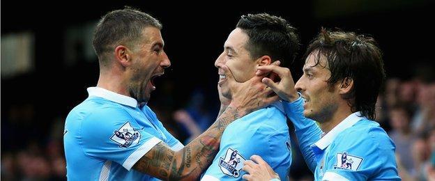 Kolarov, Nasri and Silva celebrate