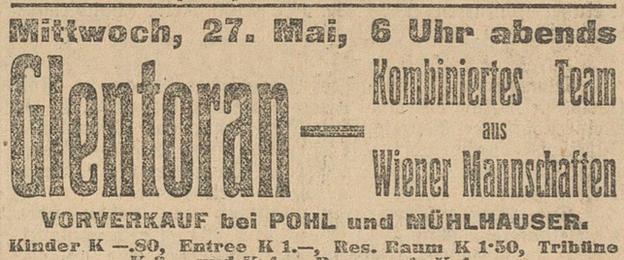A newspaper advertisement for a match between Glentoran and Vienna Select