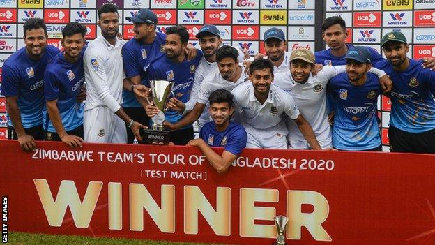 Bangladesh with the Test series trophy