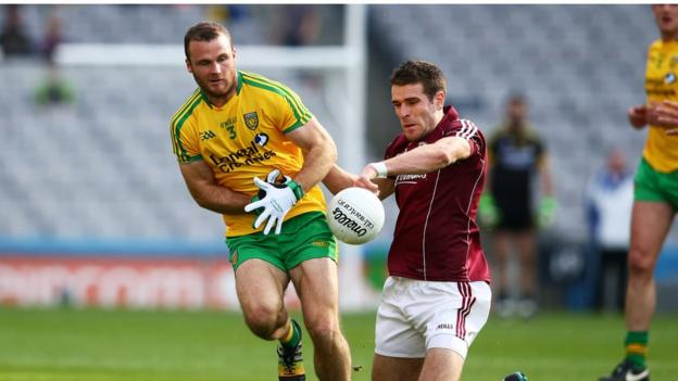 Neil McGee in action against Fiontan O Curraoin during Donegal's 3-12 to 0-11 win over Galway which books a quarter-final against Mayo
