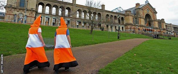 Traffic cones on their way to the darts at Alexandra Palace