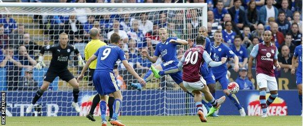 Jack Grealish scores Villa's first goal against Leicester