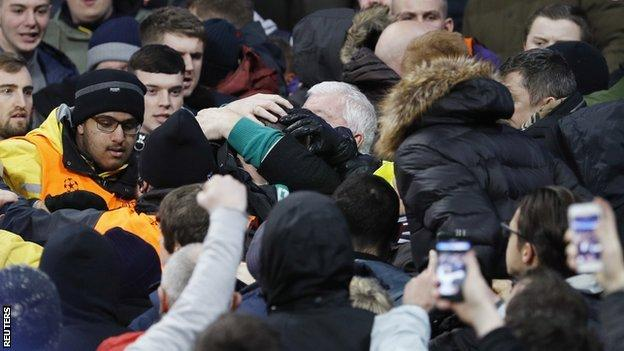 Rival supporters clashed during the Champions League encounter at the Etihad Stadium