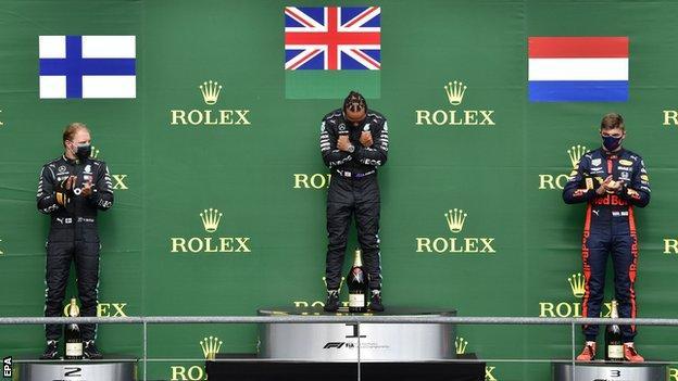 Valtteri Bottas, Lewis Hamilton and Max Verstappen on the podium in Belgium