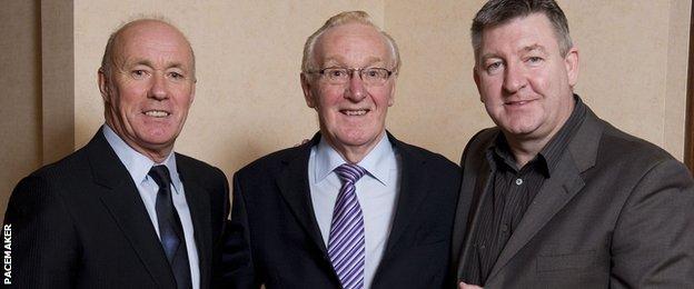 Former NI internationals Sammy McIlroy and Norman Whiteside at Derek McKinley's tribute dinner