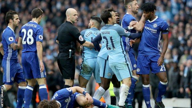 Frustrations boiled over for players from both teams after Sergio Aguero caught David Luiz with a late challenge