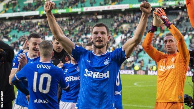 Rangers full-back Borna Barisic celebrates after a win at Celtic Park last season