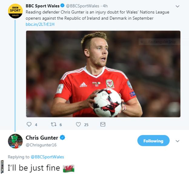 Screengrab of Chris Gunter tweeting a response to BBC Sport Wales saying he will be fine