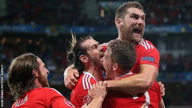 Wales celebrate against Belgium