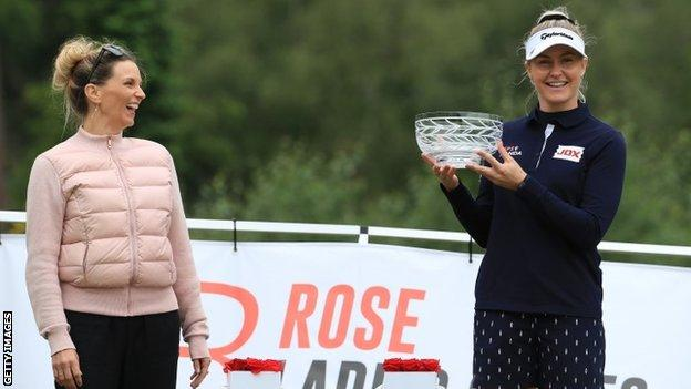 Katie Rose, wife of Justin, and winner Charley Hull
