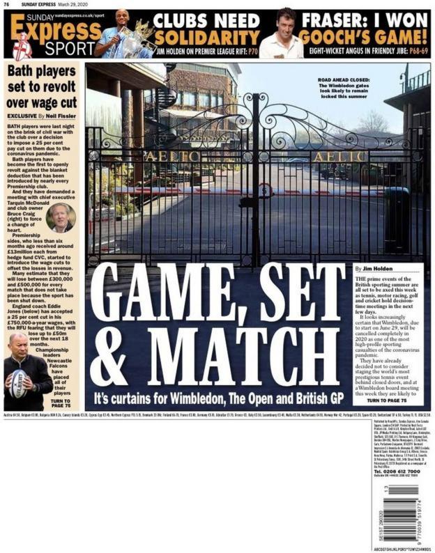 Sunday Express back page on Sunday, 29 March