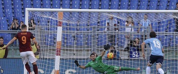 Edin Dzeko in action for Roma