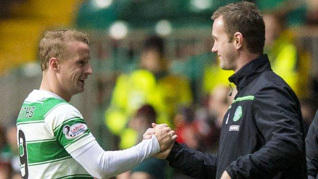 Celtic's Leigh Griffiths and Ronny Deila