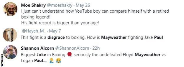 """Boxing fans on Twitter criticise Floyd Mayweather v Logan Paul, with one fan calling it """"the biggest joke in boxing'"""