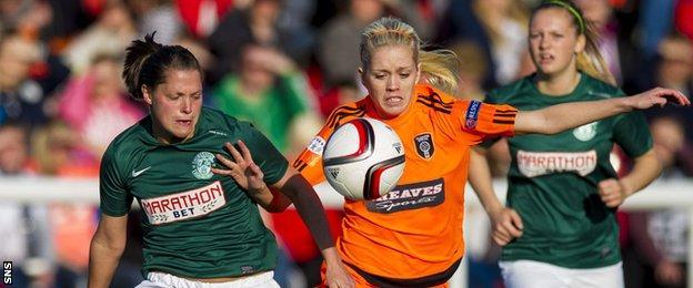 Hibernian's Lisa Robertson (left) and Glasgow City's Denise O'Sullivan