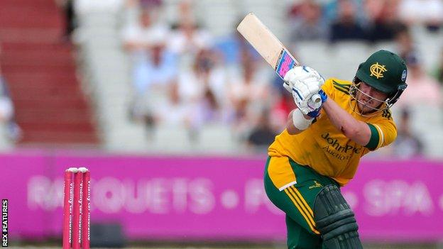 Tom Moores in action for Nottinghamshire