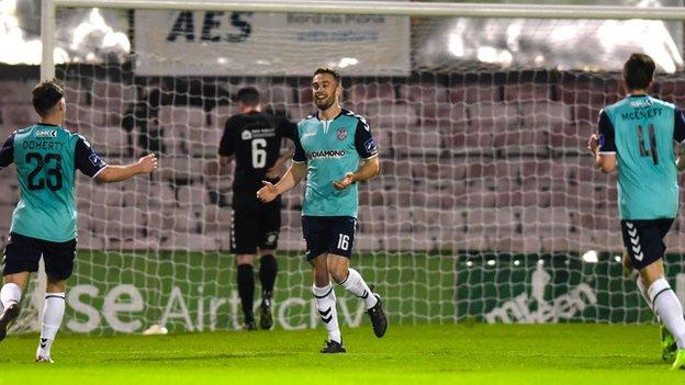 City striker Nathan Boyle celebrates the first goal in his double at Dalymount Park