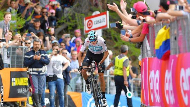 Great Britain's Christopher Froome in action during the Giro d'Italia Stage 19 a 185km stage from Venaria Reale to Bardonecchia - Jafferau