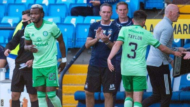 Boli Bolingoli, left, was a late substitute in Celtic's 1-1 draw at Kilmarnock on Sunday