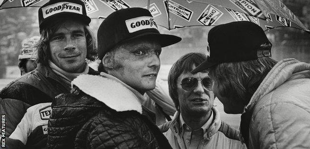 James Hunt, Niki Lauda, Bernie Ecclestone and Ronnie Peterson