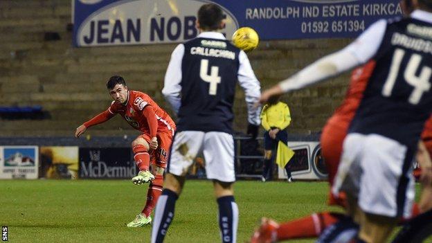 Stephen Mallan scores for St Mirren against Raith Rovers