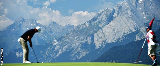 The Swiss Alps offer a dramatic backdrop to the European Masters in Crans Montana
