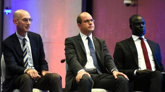 NBA Commissioner Adam Silver (left), Secretary General of Fiba Andreas Zagklis (centre) and the President of the Basketball Africa League Amadou Gallo Fall attend the announcement of the The NBA-backed Basketball Africa League (BAL) in 2019