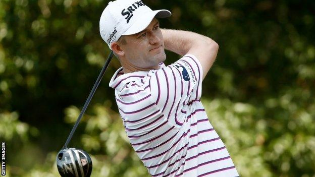 Russell Knox plays a drive during his first round at the US PGA