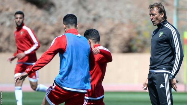 Morocco coach Herve Renard (right) will take on one of his old sides