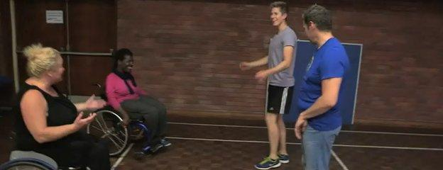 Ross and Goz rehearse with the professional dancers