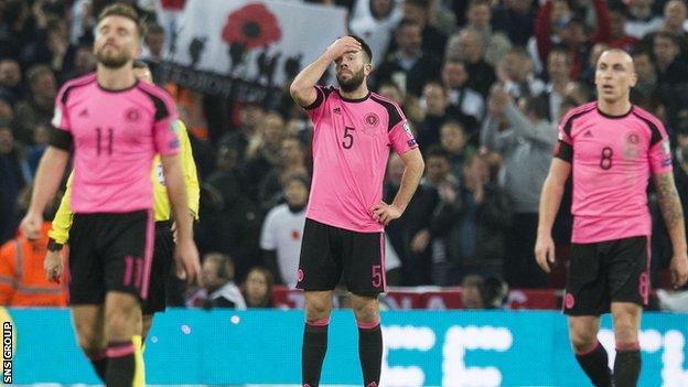 Scotland lost 3-0 at Wembley