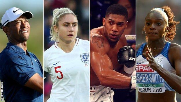 Tiger Wood, Stepth Houghton, Anthony Joshua and Dina-Asher Smith