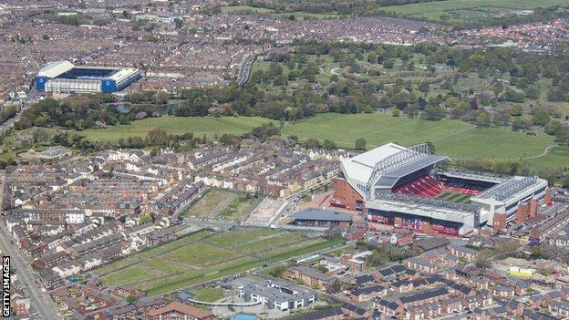 Anfield (right) and Goodison Park (left)
