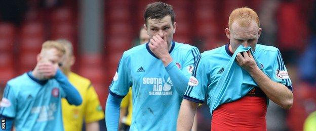 Hamilton's players are disappointed at Pittodrie