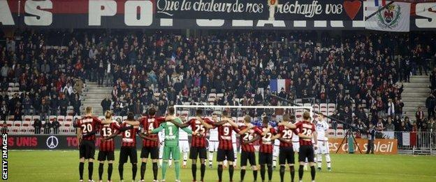 There was a minute's silence before the game
