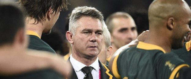 Heyneke Meyer looks on after winning the bronze medal match of the 2015 Rugby World Cup between South Africa and Argentina
