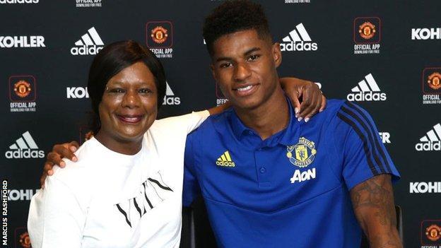 Marcus Rashford with his mum Mel