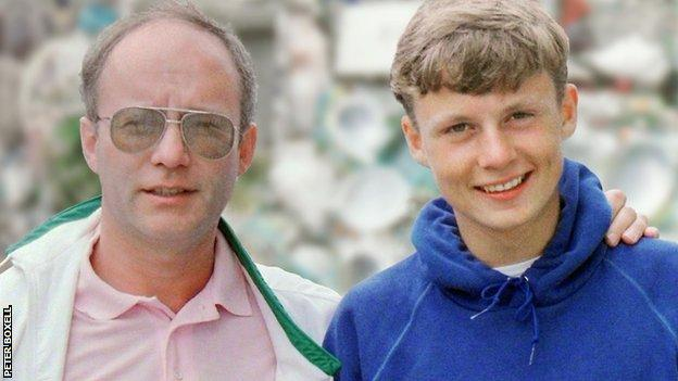 Peter Boxell pictured with his son, Lee, before he went missing in 1988