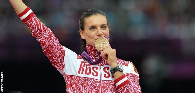 Russia's Olympic pole vault bronze medallist Yelena Yelena Isinbayeva