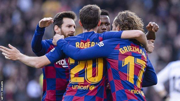 Lionel Messi, Antoine Griezmann and Ansu Fati