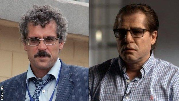 Former Russian anti-doping official Grigory Rodchenkov before and after applying a disguise