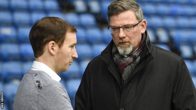 Hearts head coach Ian Cathro and director of football Craig Levein
