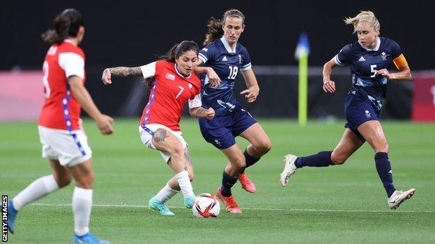 Team GB midfielder Jill Scott (center right)