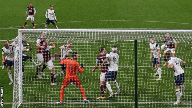 Harry Kane heads the ball off the line in Tottenham's 1-0 win over Burnley in October