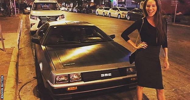 Jenson Button's wife with a DeLorean