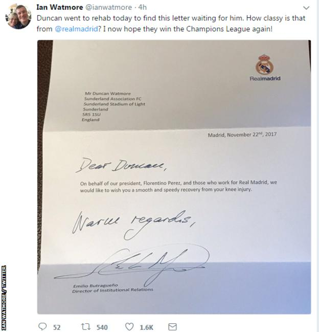 Real Madrid's letter to Duncan Watmore.