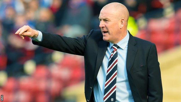 Mark Warburton makes a point during Rangers' Petrofac Training Cup final win over Peterhead
